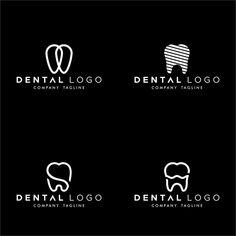 Conjunto de dental premado logo monogram dentes simples Vetor Premium Dental Clinic Logo, Dentist Logo, Yoga Logo, Dental Design, Clinic Design, Cafe Logo, Boutique Logo, Logo Inspiration, Logo Branding
