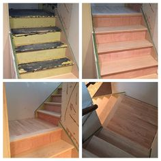 Gave these basement stairs a facelift with some new oak treads and oak hardwood landing #construction #building #reno #renovation #renovations #remodel #remodeling #basement #stairs #oak #hardwood #hardwoodfloors #woodworking #woodwork de hammer_and_stone
