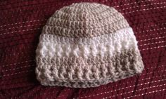 Taupe and white Baby Beanie by silentscream02 on Etsy, $10.00