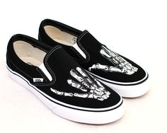 Hand Painted Shaka Skeleton Hands - Black Canvas Slip On Vans Shoes