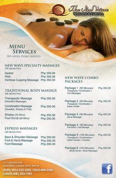 New Wave Spa Menu Cupping Massage, Spa Massage, Stone Massage, Wellness Spa, Massage Wellness, Massage Room Decor, Message Therapy, Home Beauty Salon, Massage Marketing