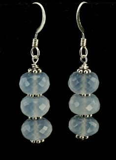 Natural Faceted Chalcedony Earrings by PearlandGemJewelry on Etsy