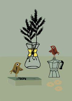 Christmastcard illustrated by muswerk; seen on HappyMakersBlog.com