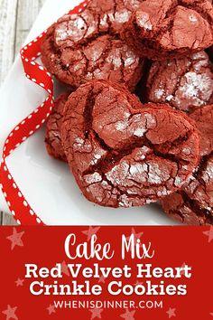 Crinkle Cookies, Candy Cookies, Cake Mix Cookies, Homemade Cookie Cakes, Cookie Recipes, Dessert Recipes, Strawberry Cookies, Lemon Cookies, Valentine Treats