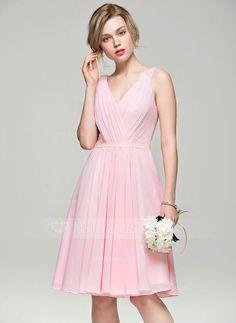 [US$ 99.99] A-Line/Princess V-neck Knee-Length Chiffon Bridesmaid Dress With Ruffle Beading Sequins (007074176)