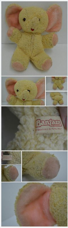 "Vintage Bantam Elephant Plush Yellow Pink Stuffed Animal 15"" bonanza.com"
