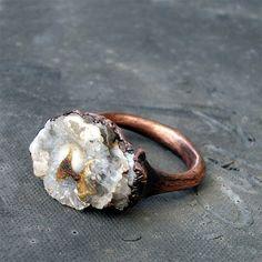 Chalcedony Copper Ring Gem Stone Chalcedony Patina Druzy Dusty Grey Gray Artisan Crystal. via Etsy.