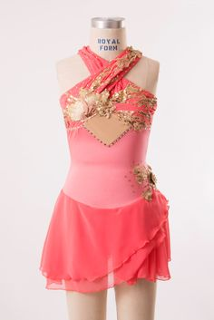 Coral skating dress with gold applique - Adult XS by customcostumesbyjess on Etsy