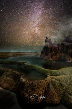 Black Rock Desert - Fly Geyser at night Black Rock Desert, Black Rocks, Adventure Photos, Life Is An Adventure, Adventure Travel, Cosmos, Online Travel, Wanderlust Travel, Wanderlust Quotes