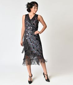 1920s Style Black With Purple & Red Beaded Silk Flapper dress