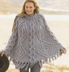 5b10d239bdd Ladies mega super chunky cable aran poncho vintage by EnglishAran Sirdar  Knitting Patterns