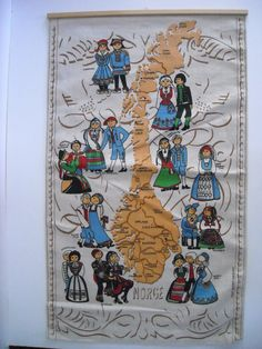 vintage Norwegian tea towel with map of Norway and figures in folk costume, wall hanging.