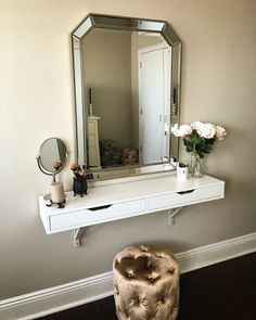 awesome IKEA Ekby Alex shelf as vanity - painted brackets my wall color....
