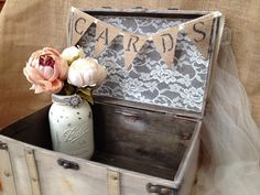 Ivory Wedding Card Box with Burlap Cards by TuttiRoseDesigns
