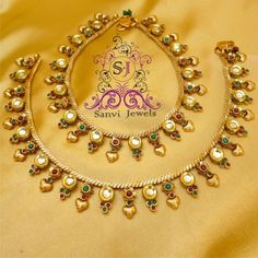 Kundan Polki Antique Anklets