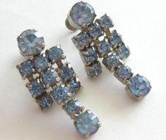 Ice Blue Rhinestone Drop Dangle Earrings by FloridaPickinAndArt