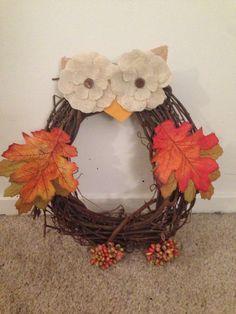 DIY Owl Wreath- super easy and fun project! #diy #fallcrafts #owls                                                                                                                                                                                 More