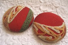 Red/black/green buttons, crewel buttons, embroidered buttons, fabric covered buttons , 1 7/8 inches