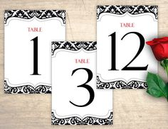 Black Damask Printable Table Numbers design No. 204 - personalized table numbers for wedding, bridal shower, baby shower DIY