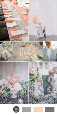 elegant peach and grey wedding color ideas