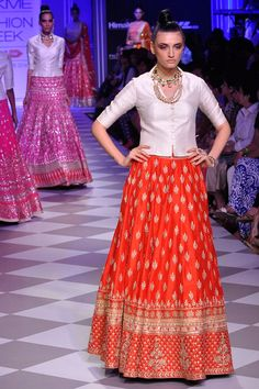 Red gota patti lehenga with contrast bandi available only at Pernia's Pop-Up Shop.