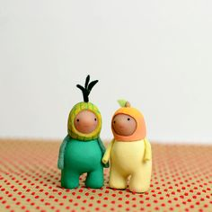 peach sprout  miniature figurine by MountRoyalMint on Etsy