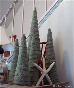 wool wrapped christmas trees {creative passage} #diy #decor #christmas #winter