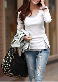 White Patchwork Buttons Round Neck Long Sleeve T-Shirt