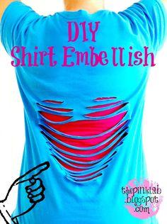 The Pink Lab: DIY ~ No Sew Shirt Embellish