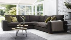 Ashdown Corner Sofa - Super Grand + Medium Unit in Habitat Sable with Mystic Mink Piping
