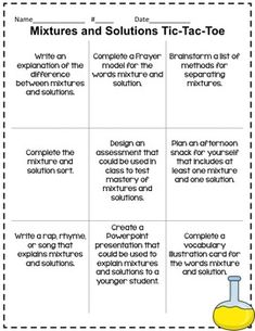 Mixtures and Solutions TicTacToe Extension... by Teaching In the Fast Lane | Teachers Pay Teachers