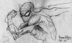 Rasmus B Najbjerg. Pencil. Drawing of Spiderman. After a drawing by J Scott Campbell