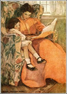 This advanced cross stitch chart was created from a vintage illustration by Jessie Willcox Smith. The illustration is called A Rainy Day and was published in the book Dream Blocks in Reading Art, Woman Reading, Kids Reading, Early Reading, Reading Time, Jessie Willcox Smith, Children's Book Illustration, American Illustration, Magazine Illustration