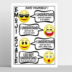 """""""Classroom Poster Emoji Scale, Rate Yourself Student Self-Evaluation, Teacher Tools, Classroom Decor, Emoji Classroom Decor Classroom decor doesn't have to be boring! This emoji scale poster is an attention getting teacher tool for your students to be able to let you and themselves know where they rate on learning. DETAILS: This purchase includes three files in the following sizes: * 8\""""x10\"""" * 11\""""x14\"""" * 16\""""x20 All three of these files are high quality, 300 dpi jpg format, so you'll get a… Music Teacher Gifts, Music Gifts, Teacher Tools, Stars Classroom, Classroom Posters, Classroom Decor, Vintage Santa Claus, Vintage Santas, Student Self Evaluation"""