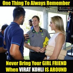 Virat Kohli Steve Smith with his girlfriend Dani Willis :) For more cricket fun click: http://ift.tt/2gY9BIZ - http://ift.tt/1ZZ3e4d