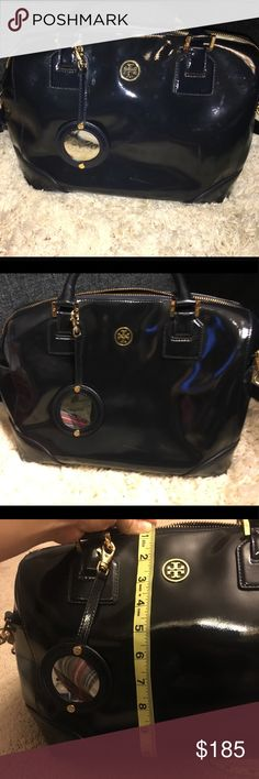 """♠️Tory Burch Mindy Satchel in Rich Navy♠️ A convenient everyday use satchel  Fits everything you'll need for the day. It comes with a removable strap that is about 48"""" Has some small imperfections.  Few scuffs on bottom also some water stains that may or may not come off.  Comes with mirror, which has some scratches from use.  Couple stains inside. No dust bag or box.  Sold as is♠️  Not pets or smoker in home Tory Burch Bags Satchels"""