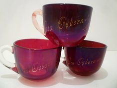 TEACUPS. Red FLASHED GLASS.  Engraved Year 1908. Wonderful 110