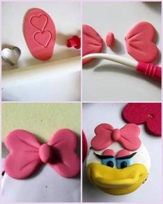 Daizy duck step by step Fondant Flower Tutorial, Fondant Flower Cake, Cake Topper Tutorial, Fondant Bow, Fondant Toppers, Fondant Cakes, Cupcake Cakes, Car Cakes, Cake Decorating Techniques