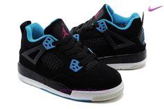 wholesale dealer 51833 f74cd scarpe da tennis 287724-019 GS AIR JORDAN 4 RETRO Nero Blu