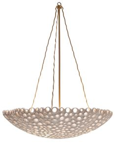 "Meri Bowl Chandelier - Cast Pierced Resin w/Brass Chain & Support *Four Bulbs Not to Exceed 60W 30"" Diameter x 38""H"