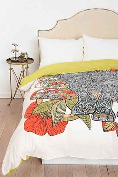 The Elephant Duvet Cover By Valentina Ramos