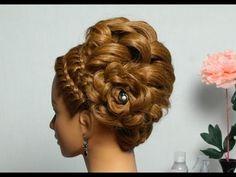 Romantic braided updo. Hairstyles for long hair. Праздничная прическа, вечерняя прическа с косами.