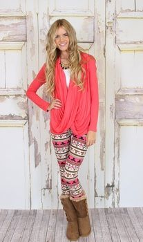 drape coral blouse and leggings