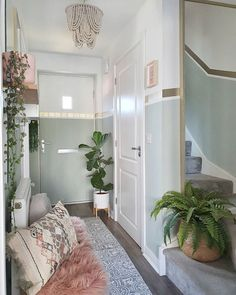 Tranquil Dawn Dulux Colour Of The Year. Hallway transformation in a newbuild home. Hallway Decorating, Decorating Ideas, Decor Ideas, Stair Landing Decor, Dulux Paint Colours, Living Room Designs, Living Spaces, Tree Interior, Scandinavian Home