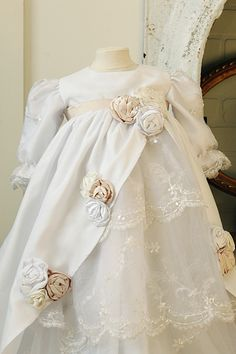 Front view of New dress for blessing or baptism baby girl! :) Silk, lace, beading, roses, layers, ruffles, champagne and white! The Zaidee Dress!