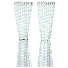IKEA - UPPTÅG Curtains with tie-backs, 1 pair waves/boats pattern/blue Curtain Rings With Clips, Curtains With Rings, Ikea Curtains, Lace Curtains, Blinds Curtains, Bathroom Curtains, Curtain Wire, Curtain Rods, Curtains Without Sewing