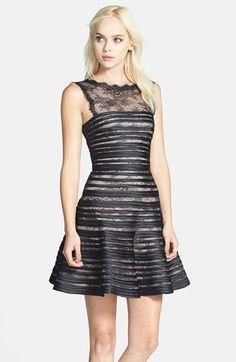 BCBG MAXAZRIA BCBGMAXAZRIA 'Jaqueline' Satin Trim Lace Fit & Flare Dress available at #Nordstrom