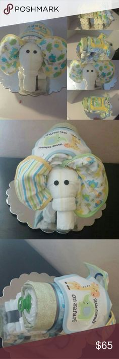 *Example Elephant Diaper Cake* Elephant Diaper Cake  Elephant Diaper Cake can be made in your colors. Can be made for baby boy or girl  Includes *23 diapers *3 bibs *2 receiving blankets *1 pacifier Other
