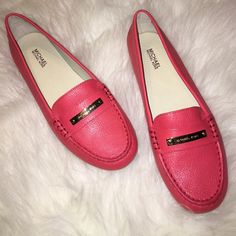 NIB Michael Kors Leather Loafers Brand new in original box Michael Kors Leather Loafers in Watermelon. The color is even more beautiful in person. Michael Kors logo in gold on the front of each loafer. Comfortable, gorgeous and a beautiful color for spring! Michael Kors Shoes Flats & Loafers