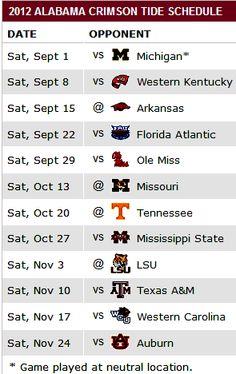 2012 Football Schedule OMG Auburn game 4 days before my Birthday!!